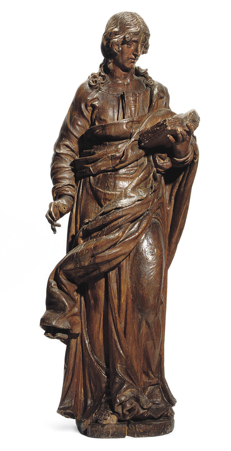 AN ITALIAN CARVED WOOD FIGURE