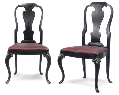 A PAIR OF INDIAN EBONY SIDE CH