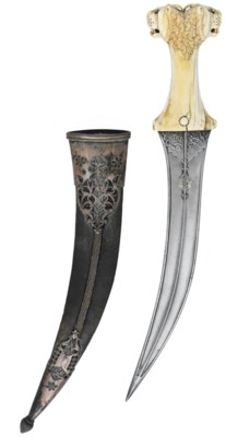 AN INDIAN MUGHAL IVORY HILTED