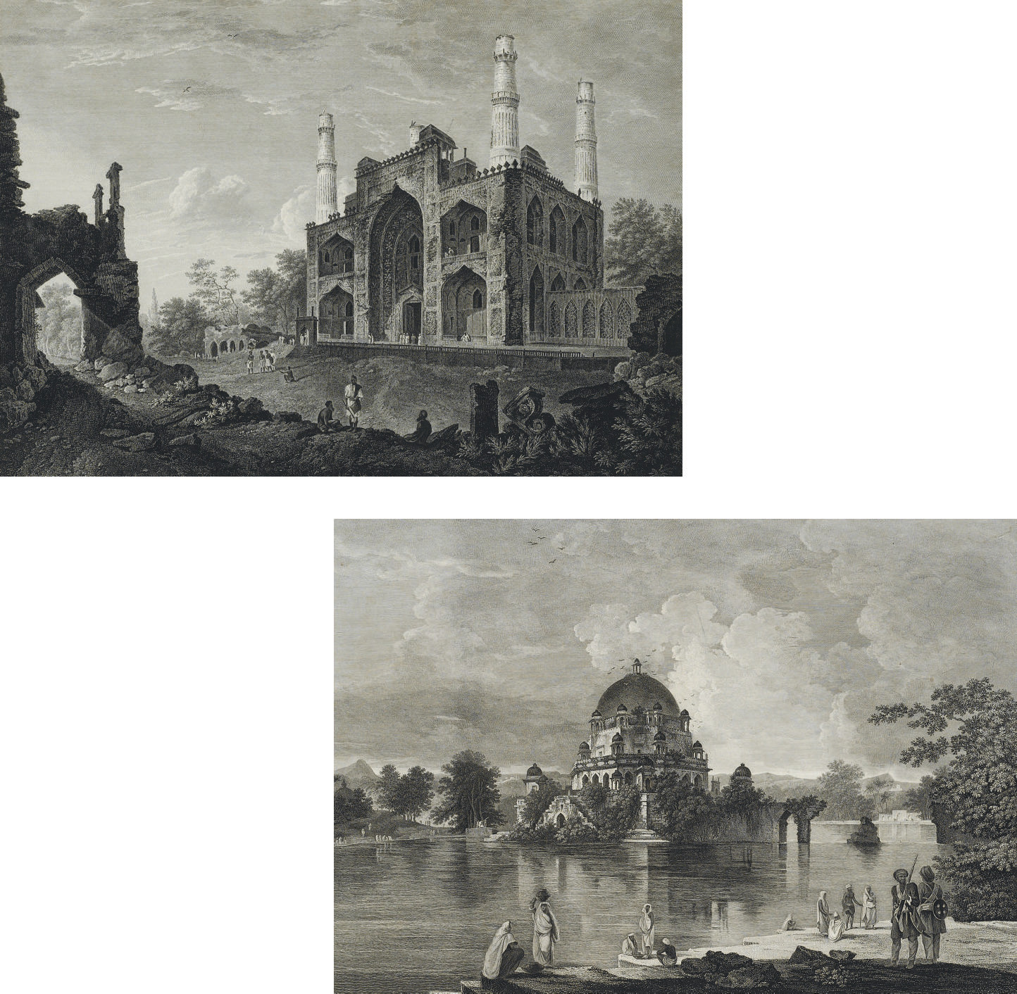 A View of the Tomb of the Emperor Shere Shah at Sasseram in Bahar; and a View of the Gate of the Tomb of the Emperor Akber at Secundra, by Morris and Browne
