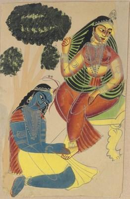 A Kalligat Painting of Krishna