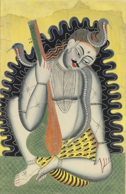 A Kalligat Painting of Shiva
