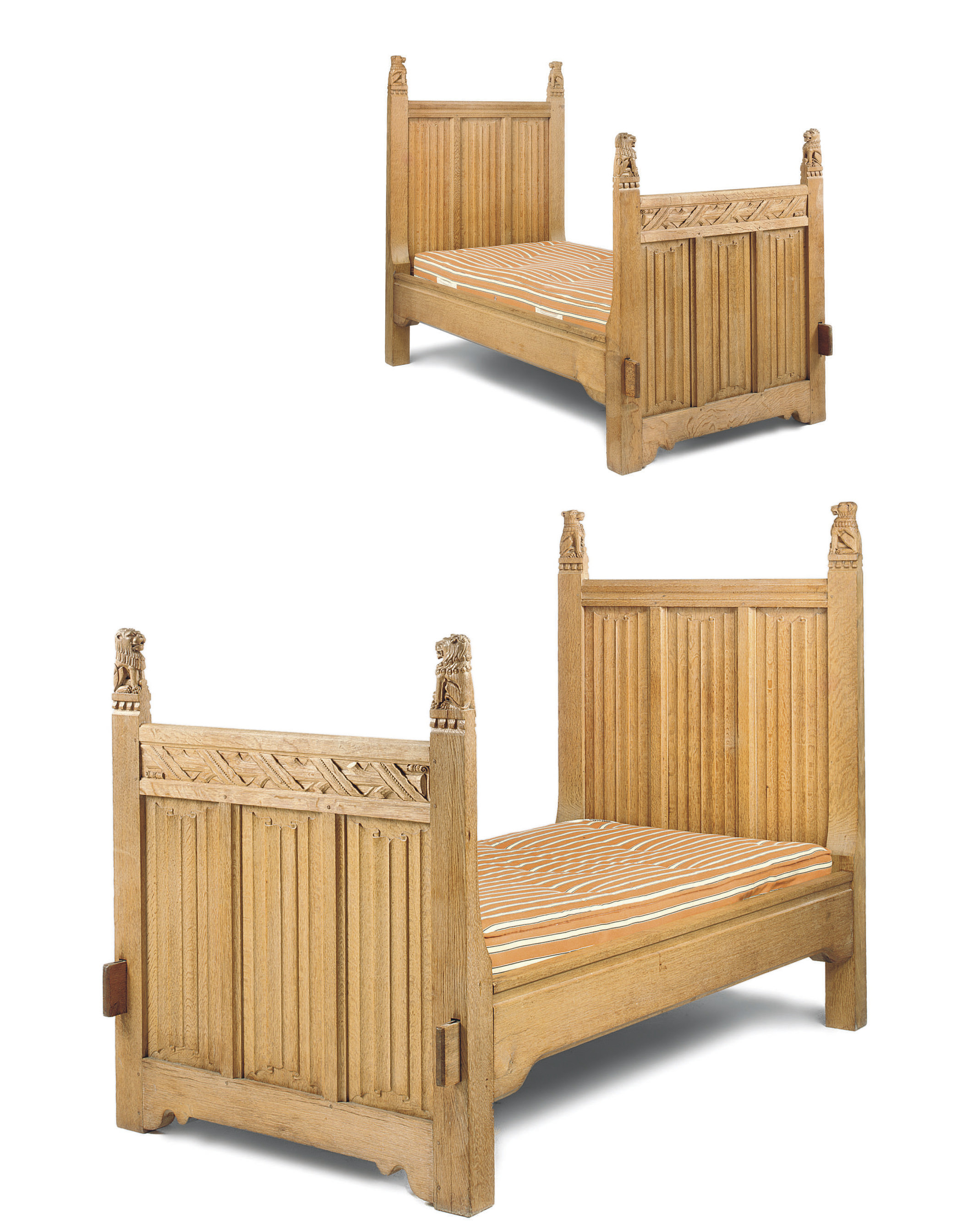 A PAIR OF SCOTTISH OAK SINGLE BEDS