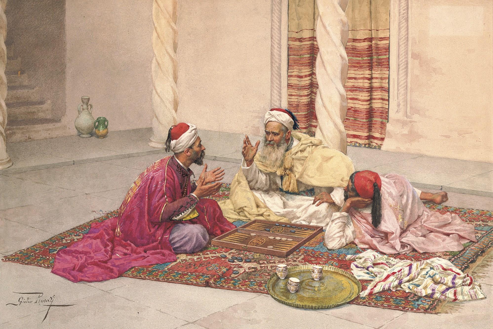 朱利奥・罗塞蒂(1858-1917),《庭院中的西洋双陆棋玩家》。铅笔 水彩 纸本。16 18 x 23 38�迹�41 x 59.5公分)。此作于2008年7月2日在佳士得伦敦售出,成交价145,250英镑