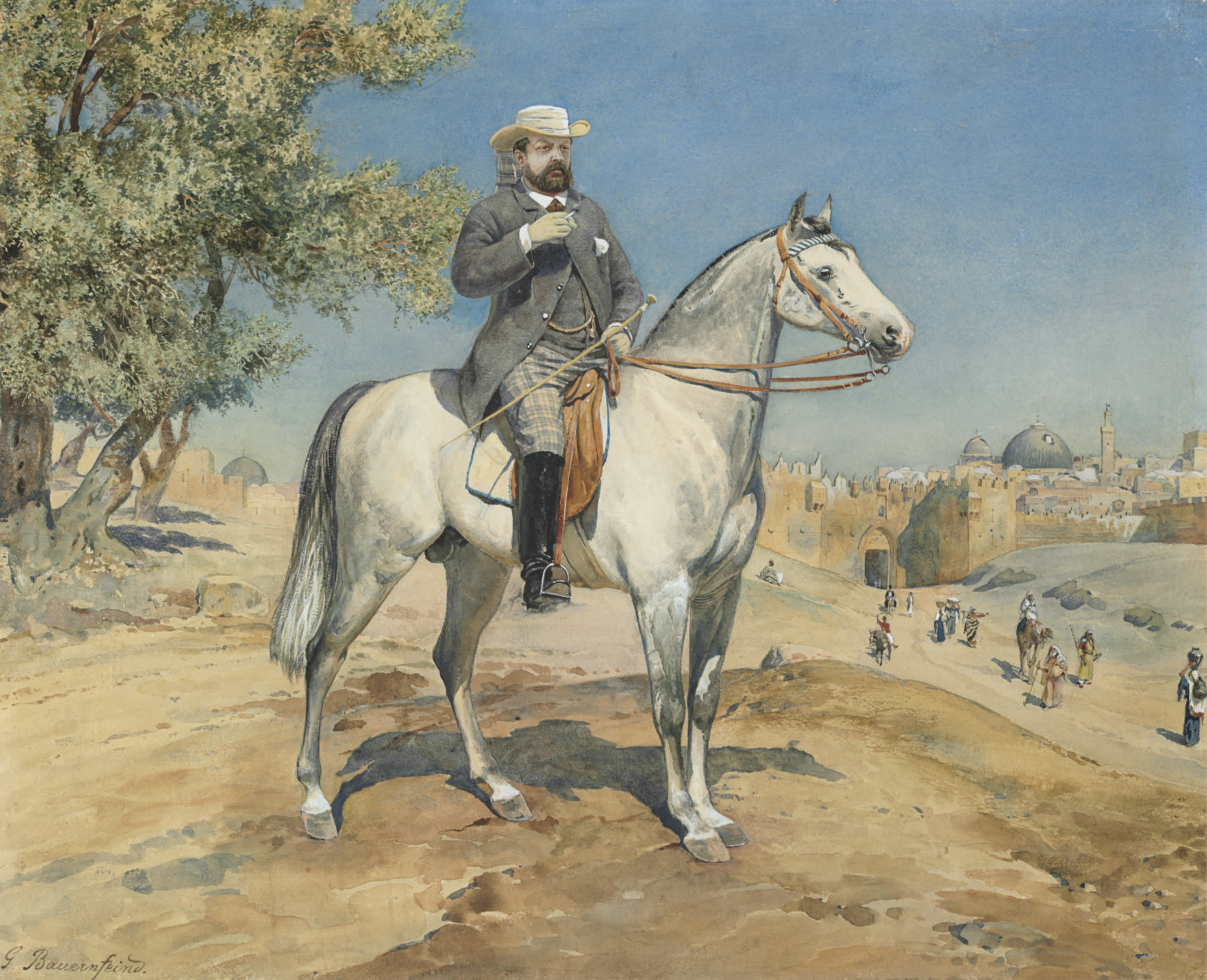 A horseman by a Jerusalem Gate