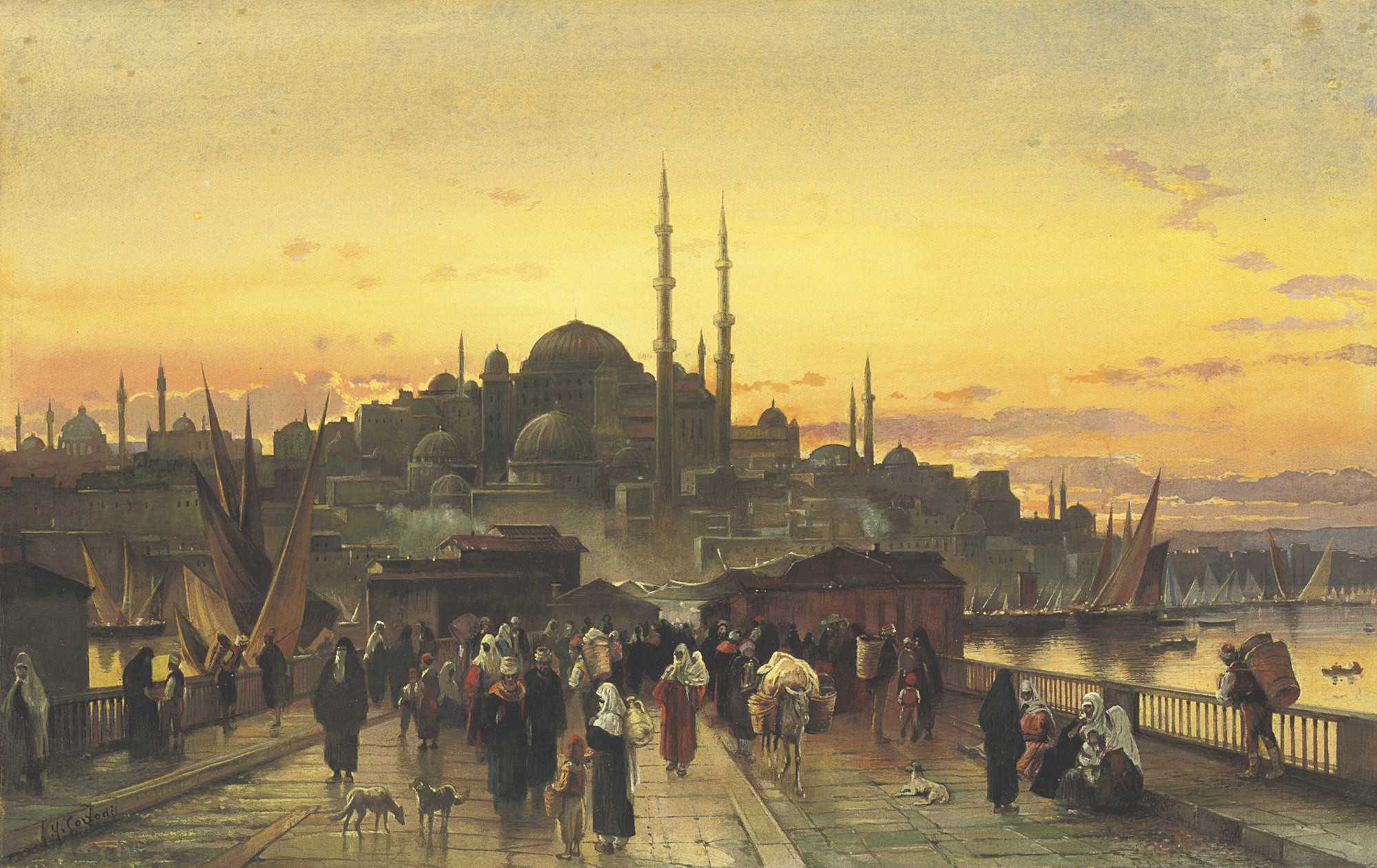 The Golden Horn, Galata Bridge, Constantinople