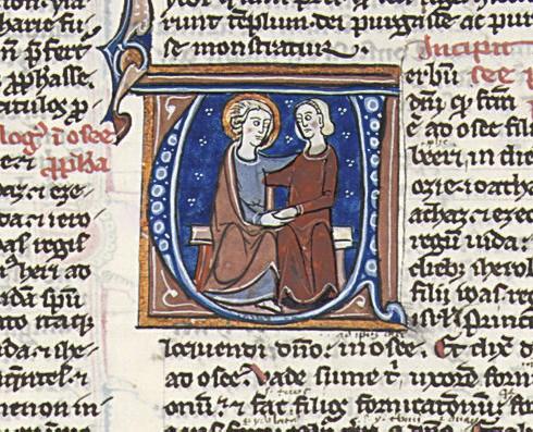 HOSEA AND GOMER, historiated i