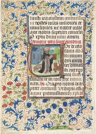 ST ANTHONY ABBOT, historiated