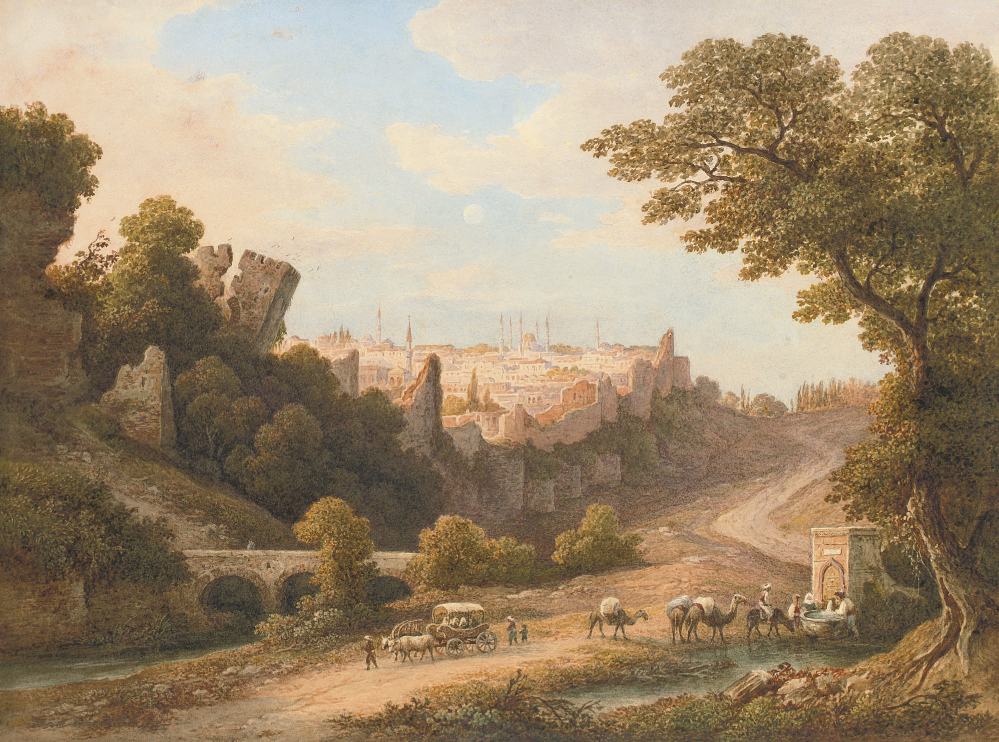 View of Constantinople with camels watering and travellers on a track in the foreground