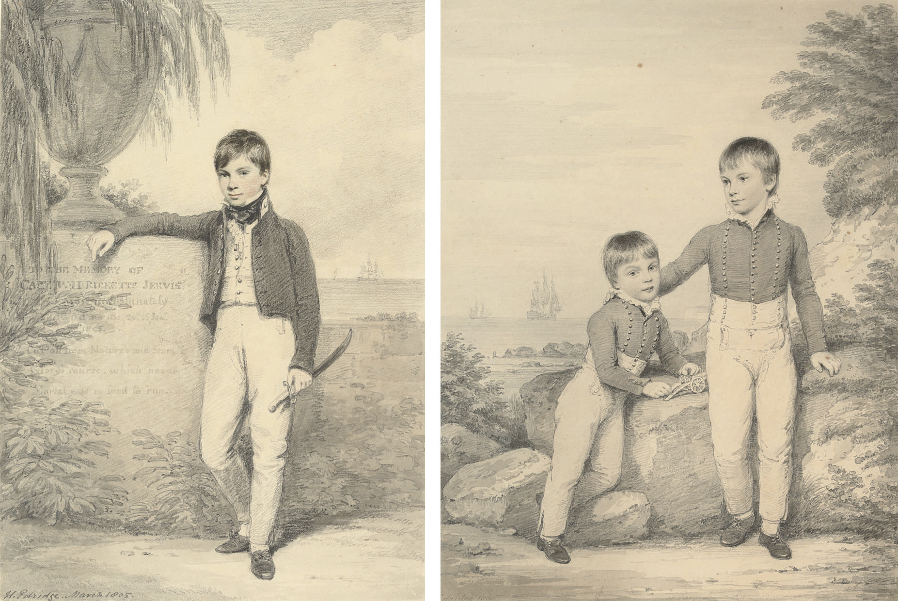 Portrait of George Carnegie, Lord Rosehill, small full-length, his right arm resting on a plinth; and Double portrait of George Carnegie, Lord Rosehill, aged nine, with his brother the Hon. William Hopetoun Carnegie, aged six, full-length, playing with a toy cannon, with ships at sea beyond