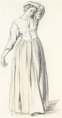 Dorelia standing, her left arm raised above her head