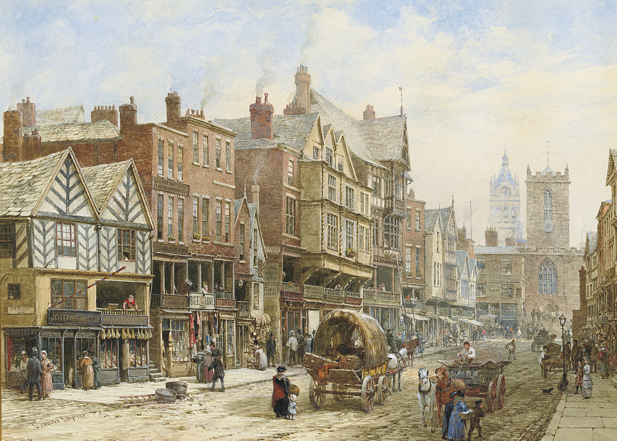 Bridge Street, Chester, with St. Peter's Church and Chester Town Hall in the background