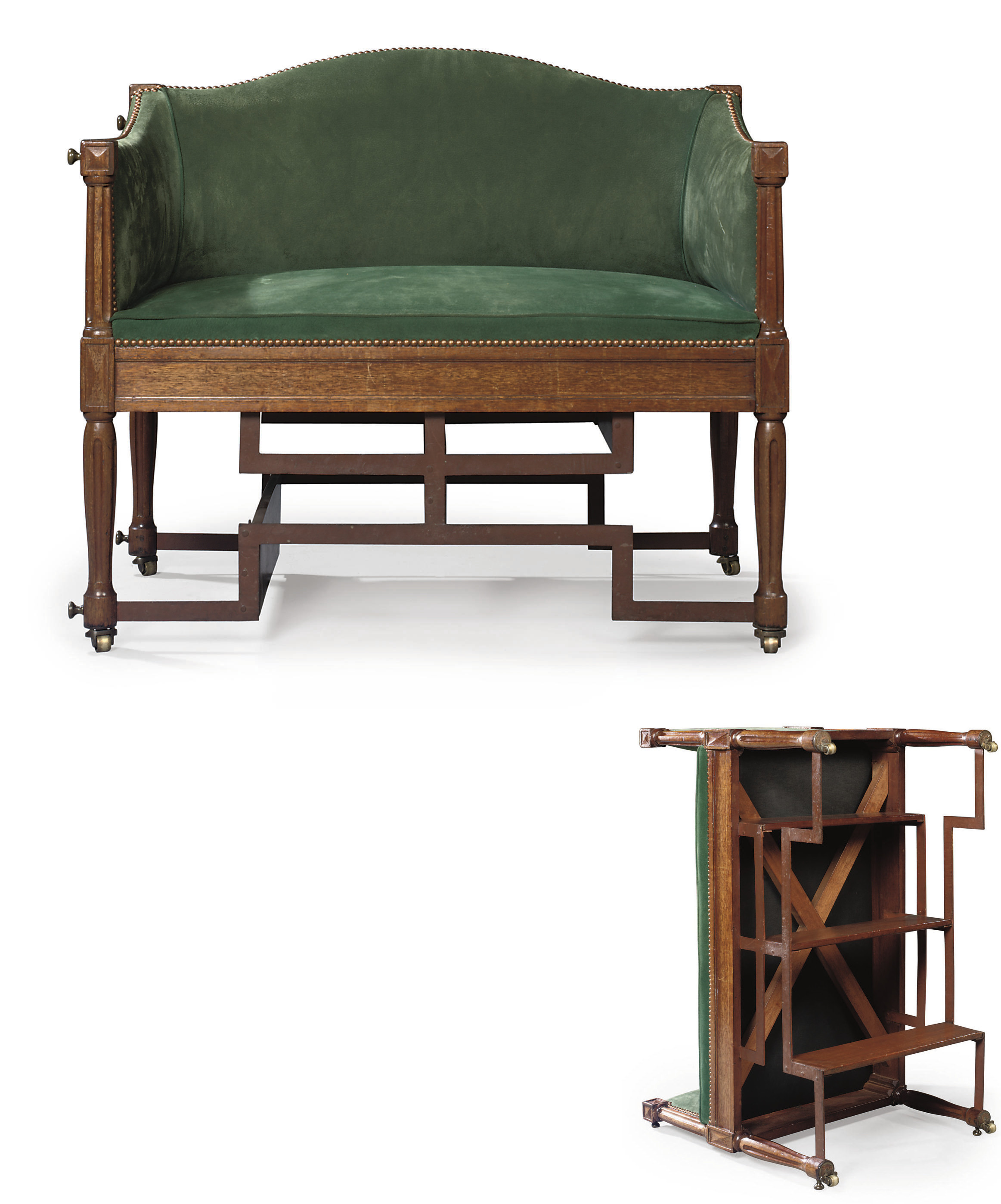 A DIRECTOIRE MAHOGANY AND IRON METAMORPHIC SETTEE
