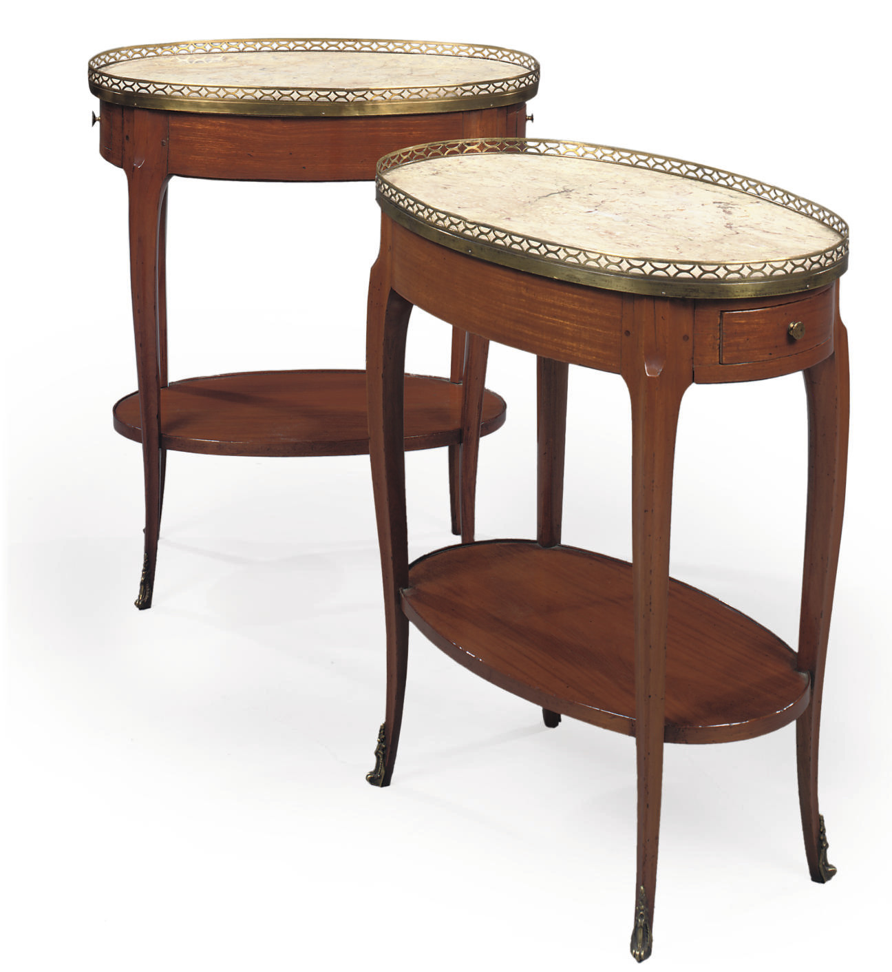 A PAIR OF FRENCH ORMOLU-MOUNTED BOIS SATINE OCCASIONAL TABLES