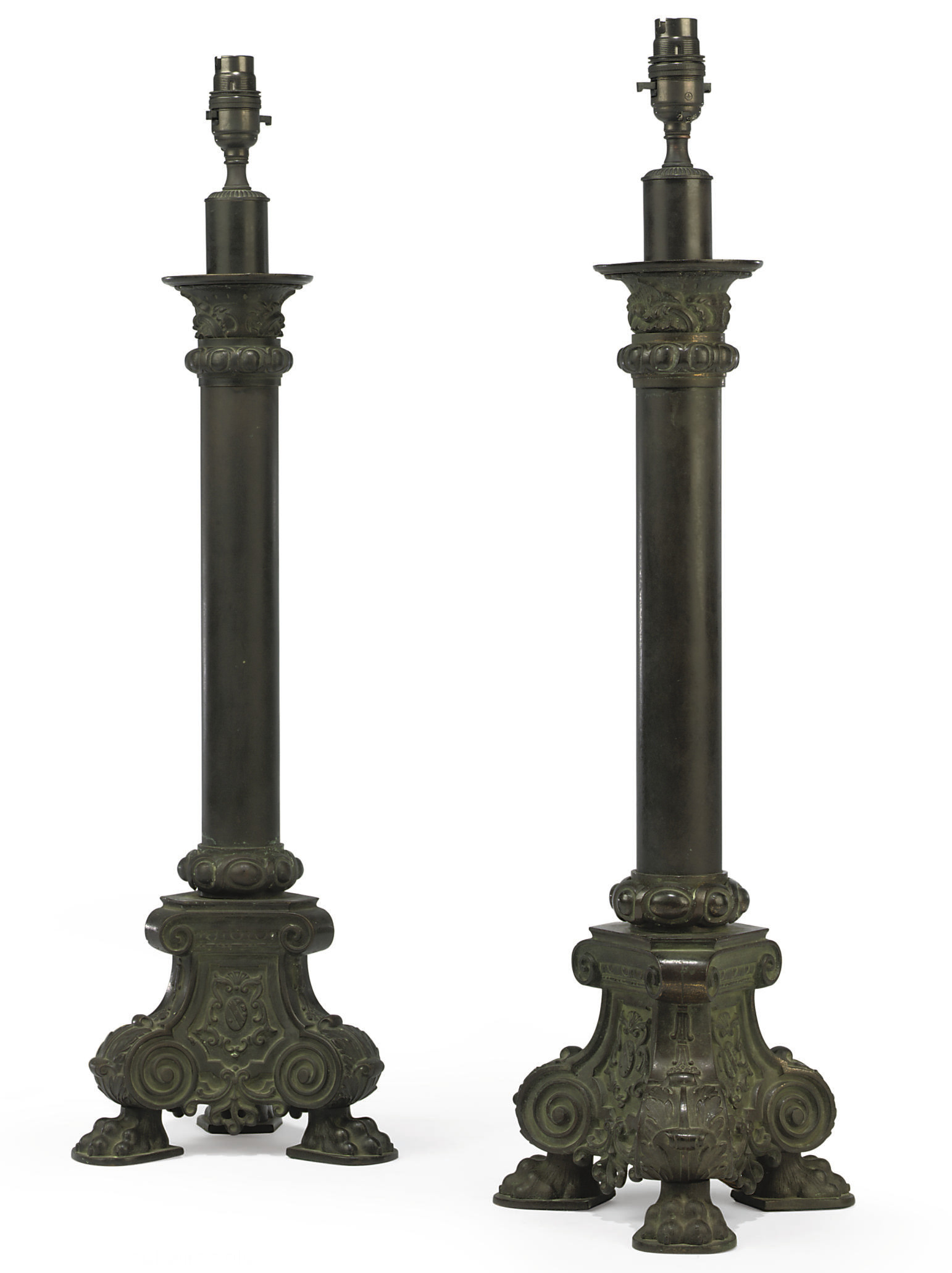 A PAIR OF ENGLISH PATINATED BR