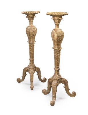 A PAIR OF ENGLISH GILTWOOD TOR