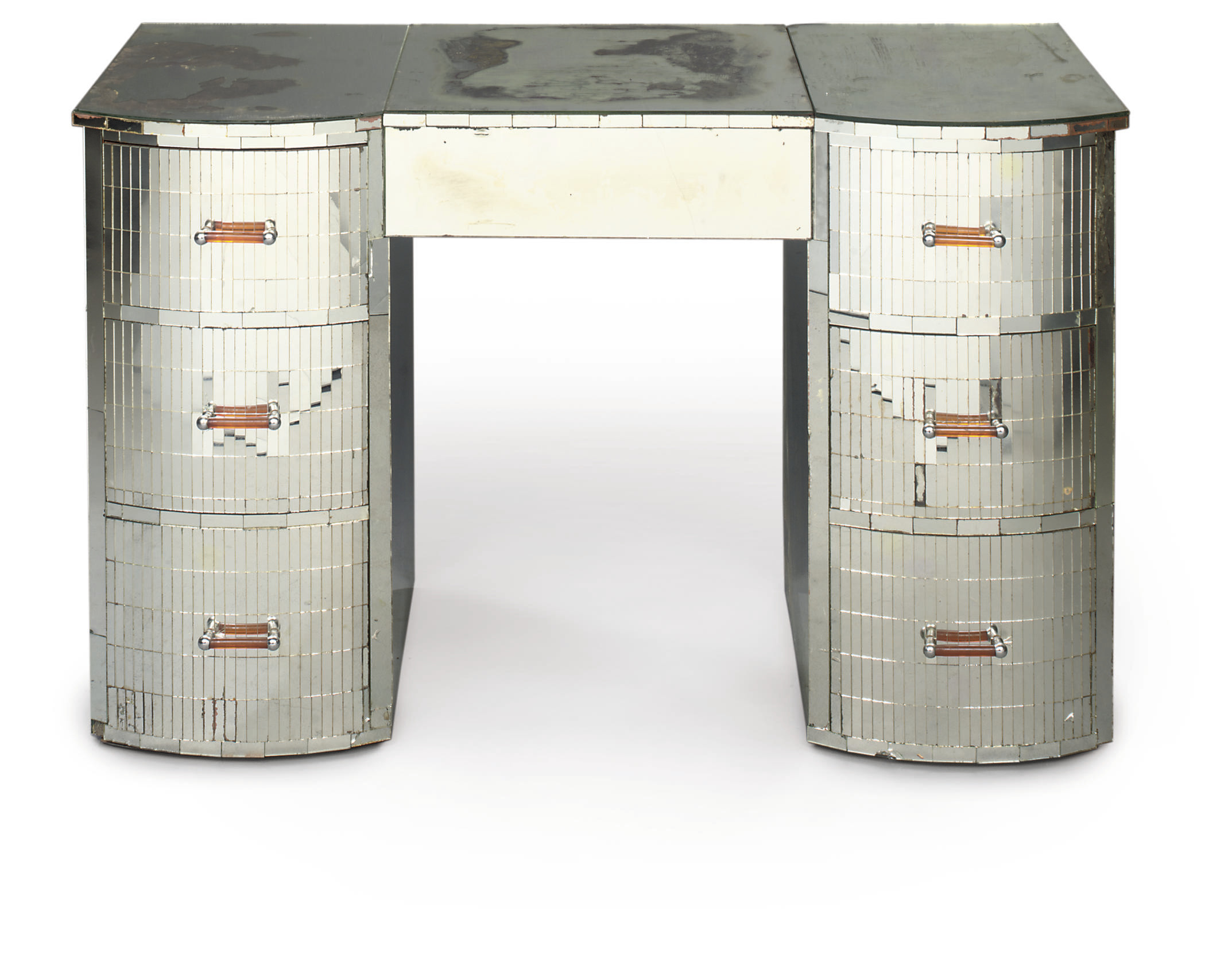 A FRENCH ART DECO MIRRORED KNEEHOLE DRESSING-TABLE