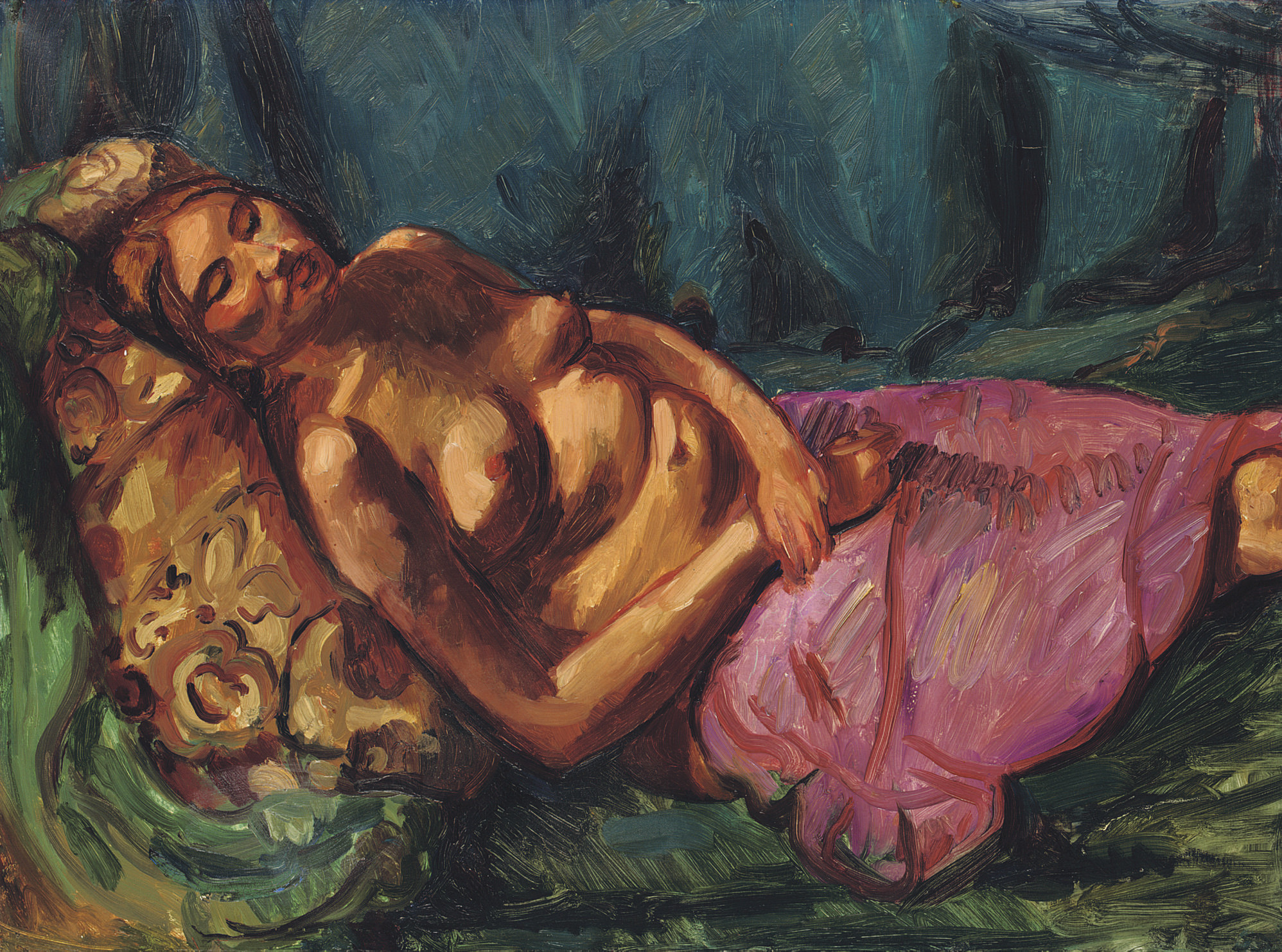 Nude with mauve drapery