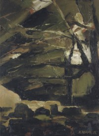 Trees over rocky river bed