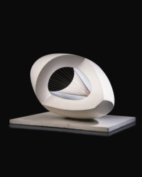 Sculpture with Colour (Oval Form) Pale Blue and Red