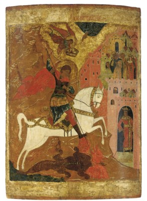 A MONUMENTAL ICON OF ST. GEORG