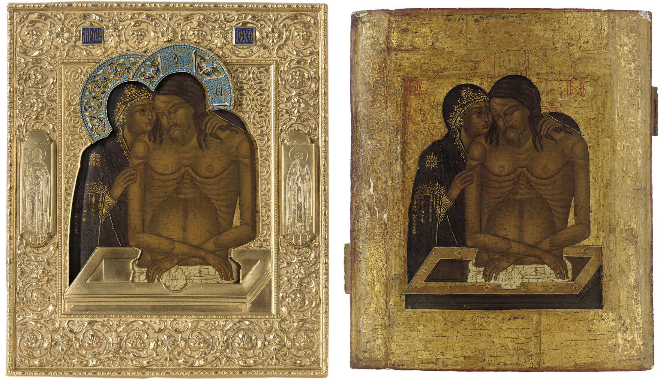THE MOTHER OF GOD 'DO NOT WEEP FOR ME', WITH ENGRAVED IMAGES OF THE FAMILY PATRONS STS. ANNA AND VASILII ON THE BORDER