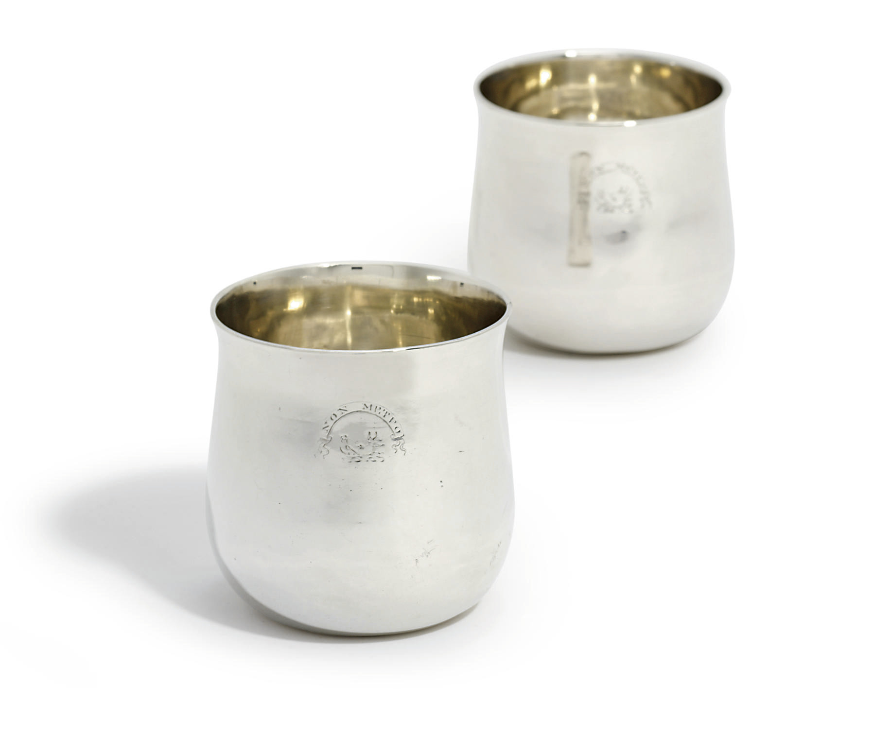 A PAIR OF GEORGE III SCOTTISH SILVER TUMBLER-CUPS