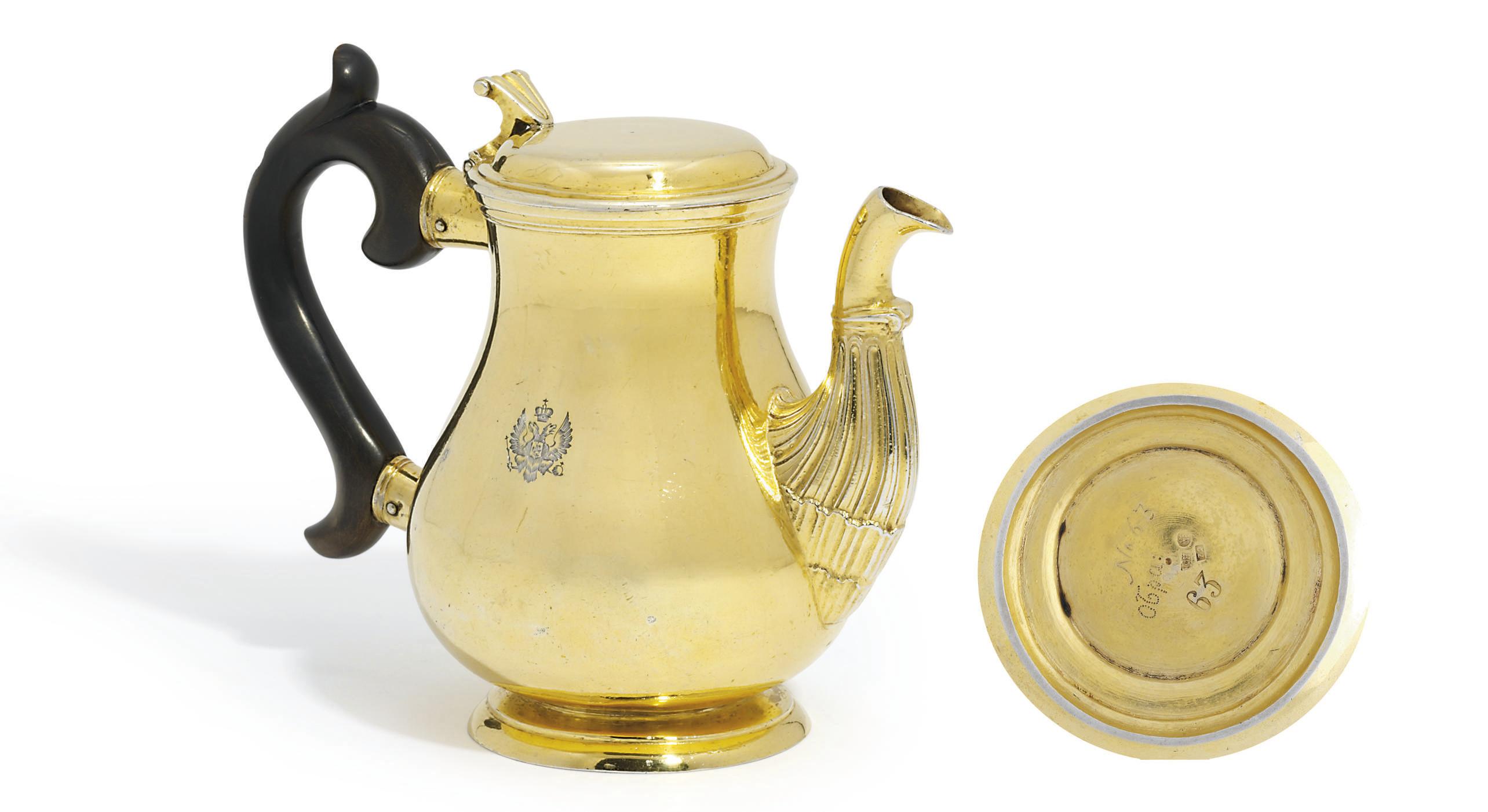 A RUSSIAN SILVER-GILT TEAPOT