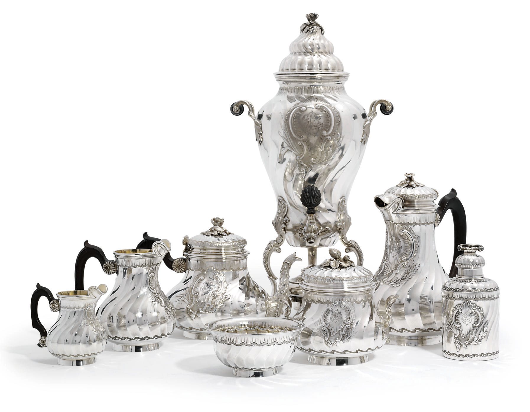 A FRENCH SILVER EIGHT-PIECE TEA AND COFFEE-SERVICE