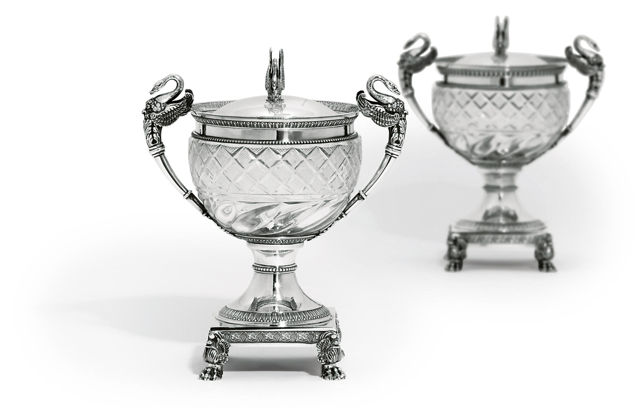 TWO FRENCH SILVER-MOUNTED CUT-