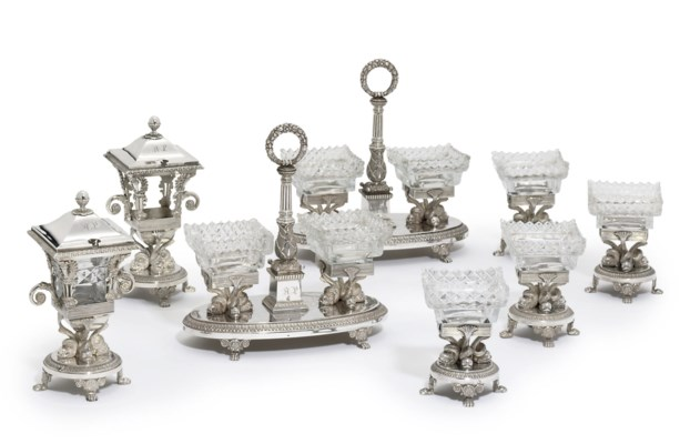 A FRENCH SILVER CONDIMENT-SET