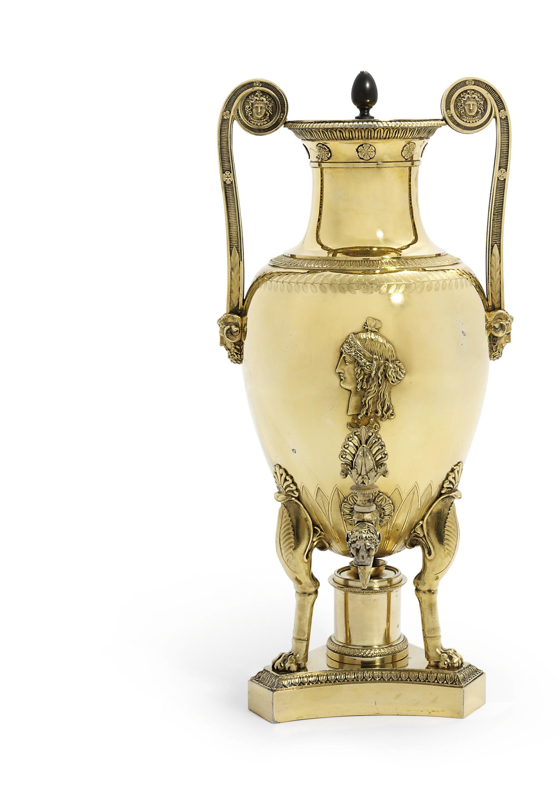 A FRENCH SILVER-GILT TEA-URN