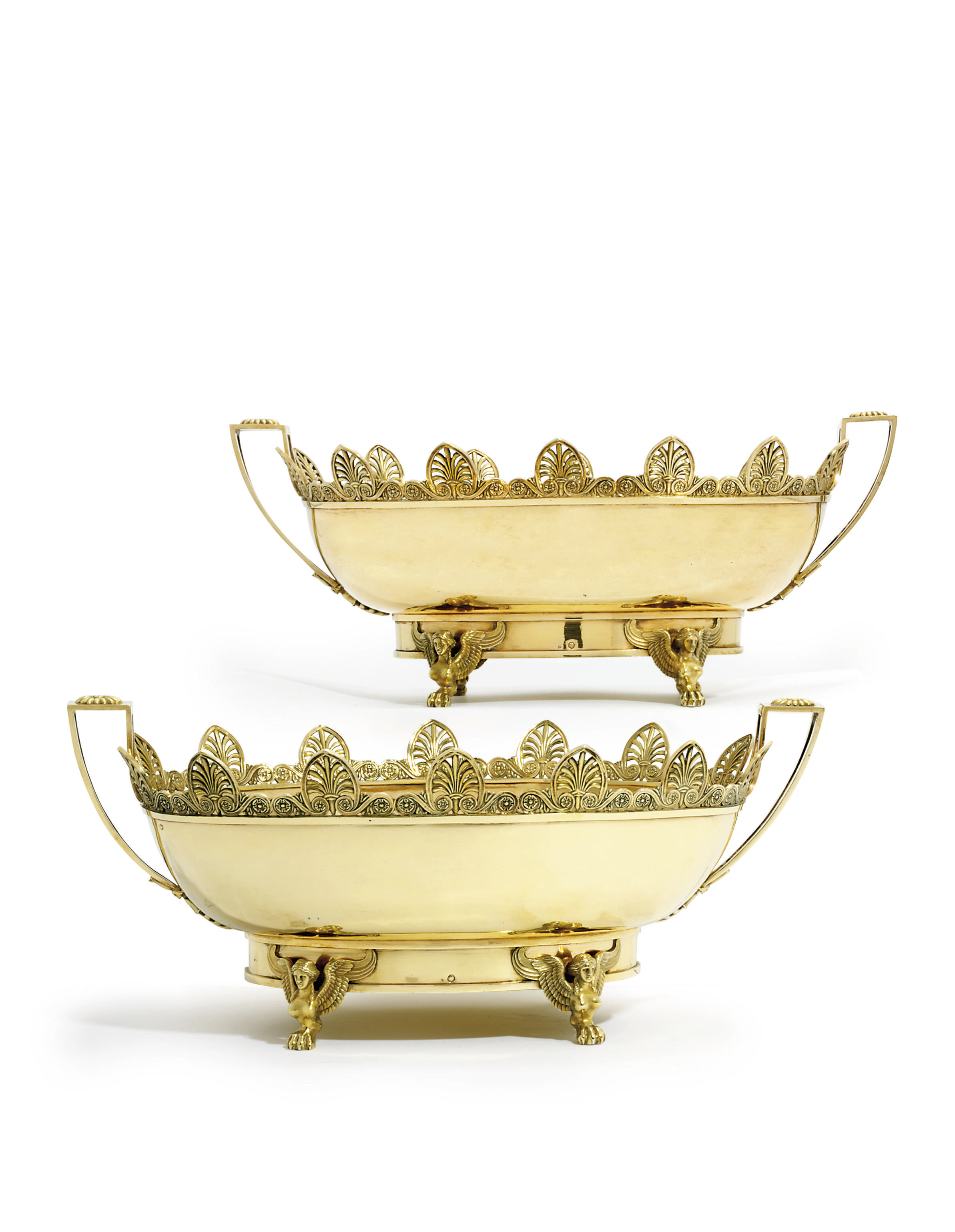 A PAIR OF FRENCH SILVER-GILT VERRIERES