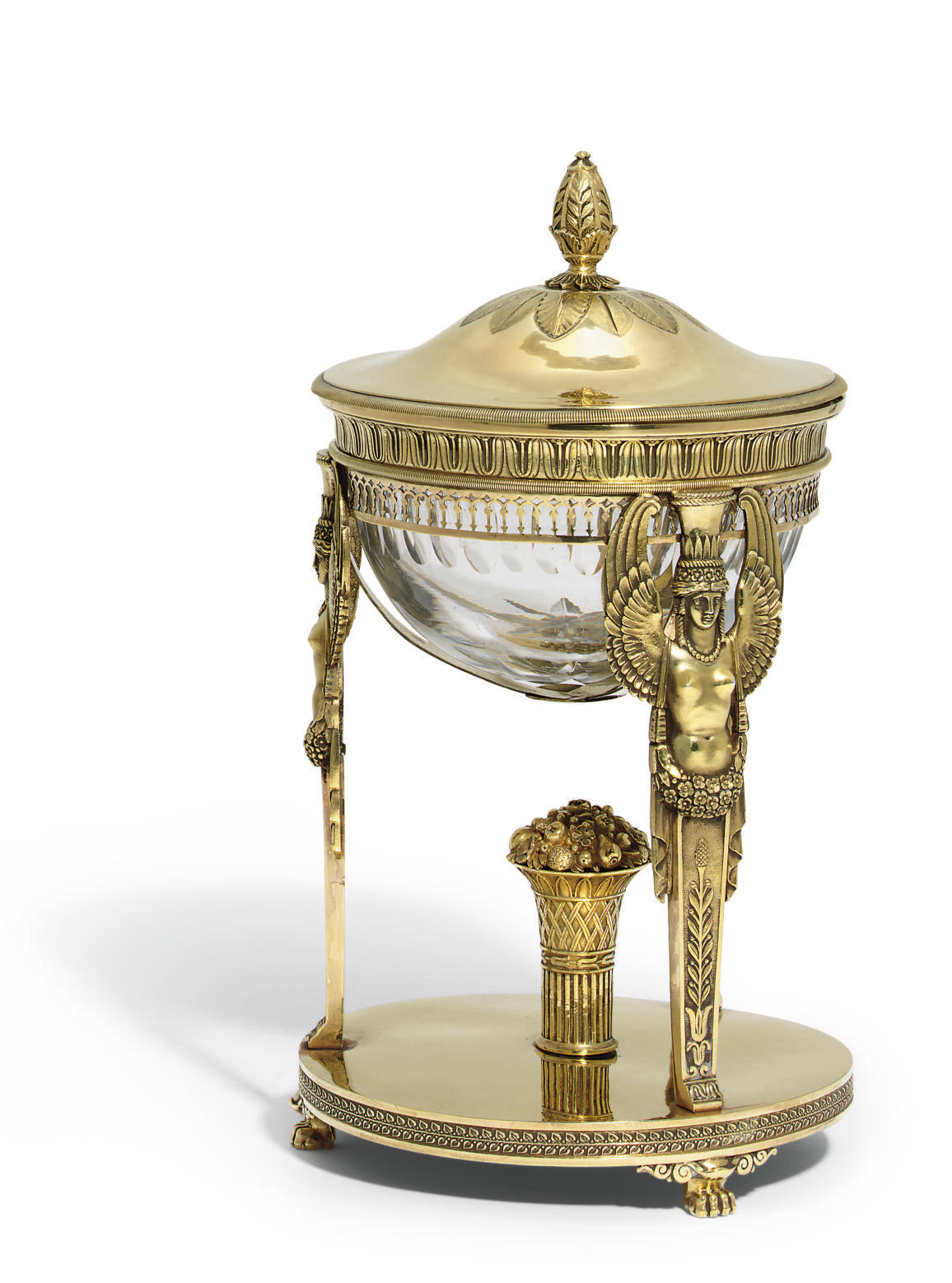 A FRENCH SILVER-GILT VASE AND