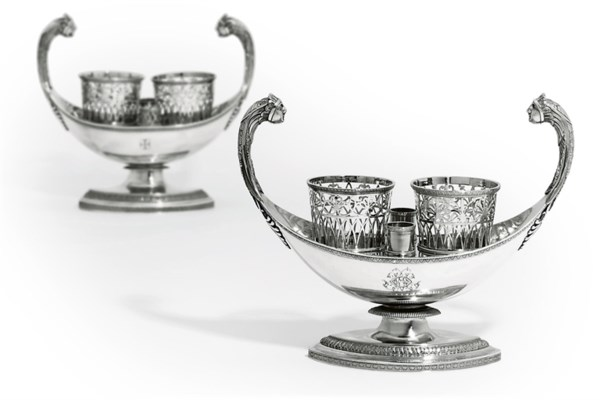TWO FRENCH SILVER OIL-AND-VINE