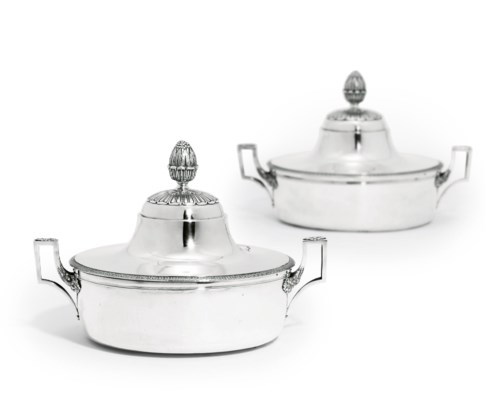 A PAIR OF FRENCH SILVER VEGETA