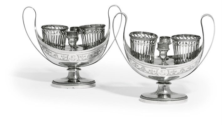 A PAIR OF FRENCH SILVER OIL-AN