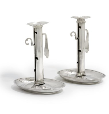 A PAIR OF SWISS SILVER CHAMBER