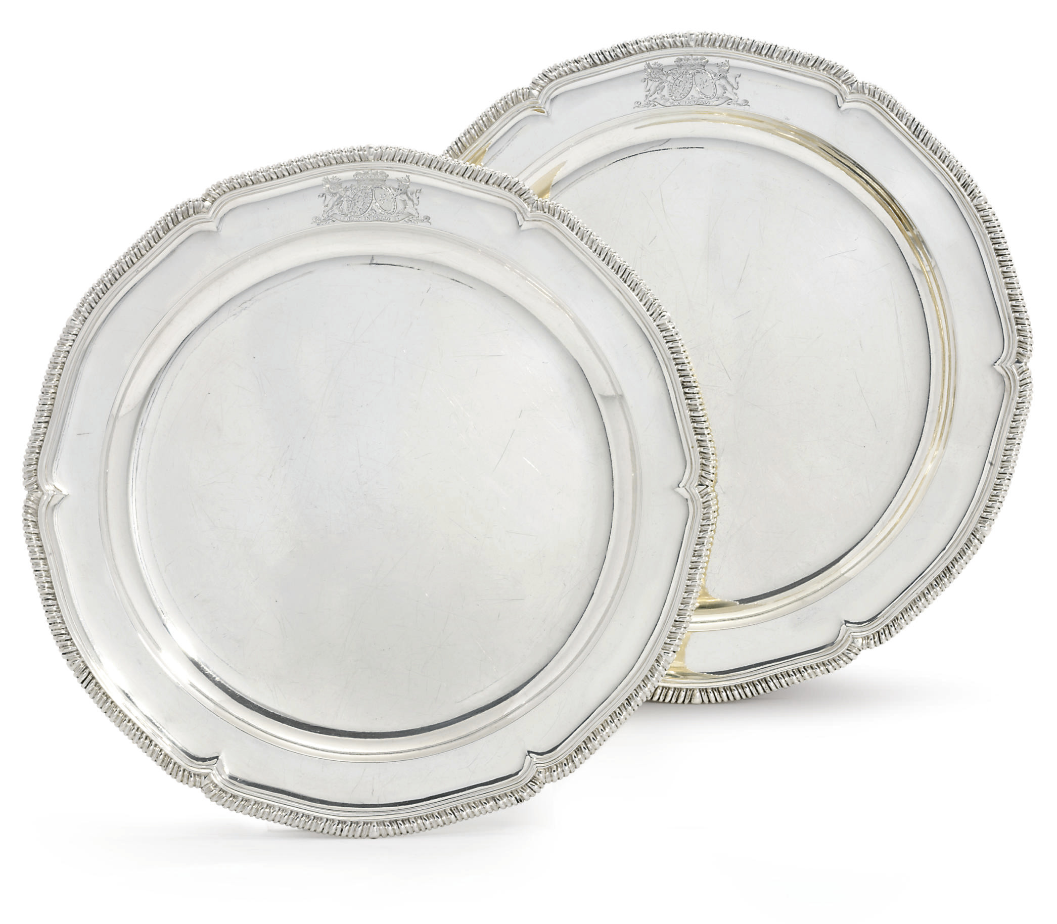A PAIR OF GEORGE III SILVER SERVING-DISHES