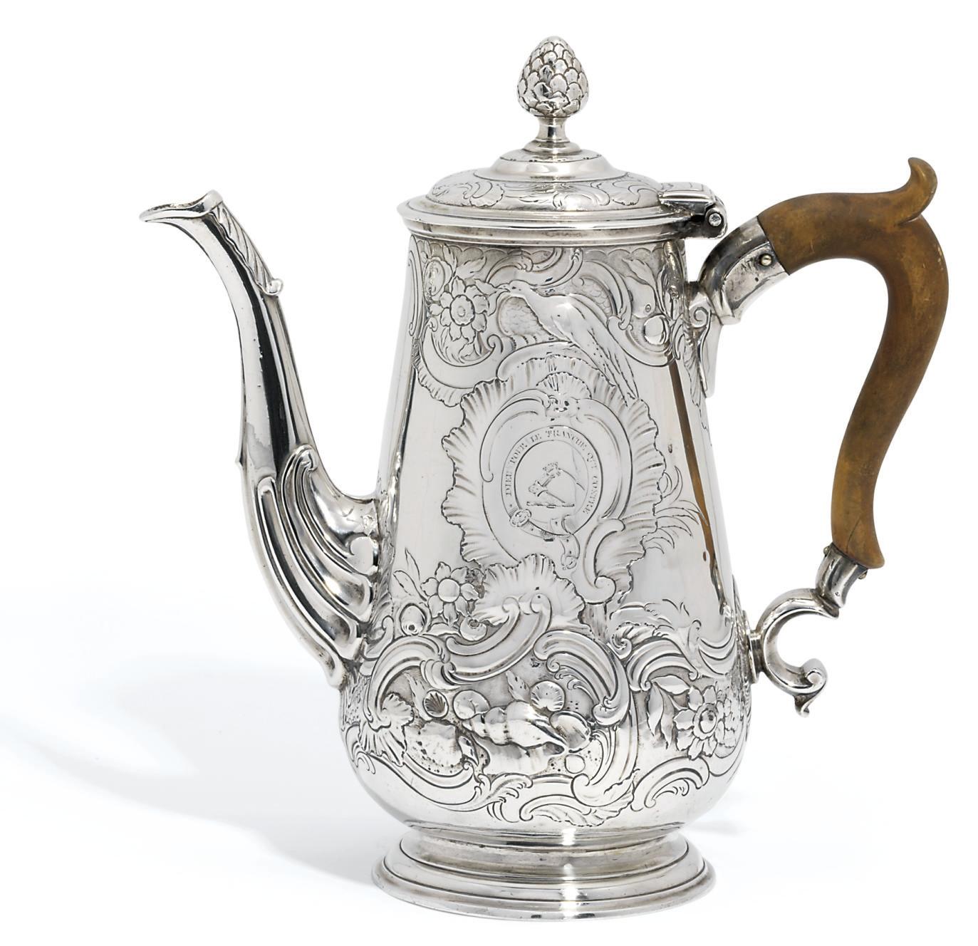 A GEORGE II IRISH SILVER COFFE