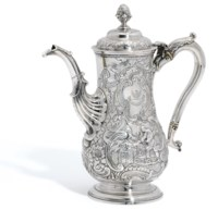 A GEORGE II IRISH SILVER COFFEE-POT