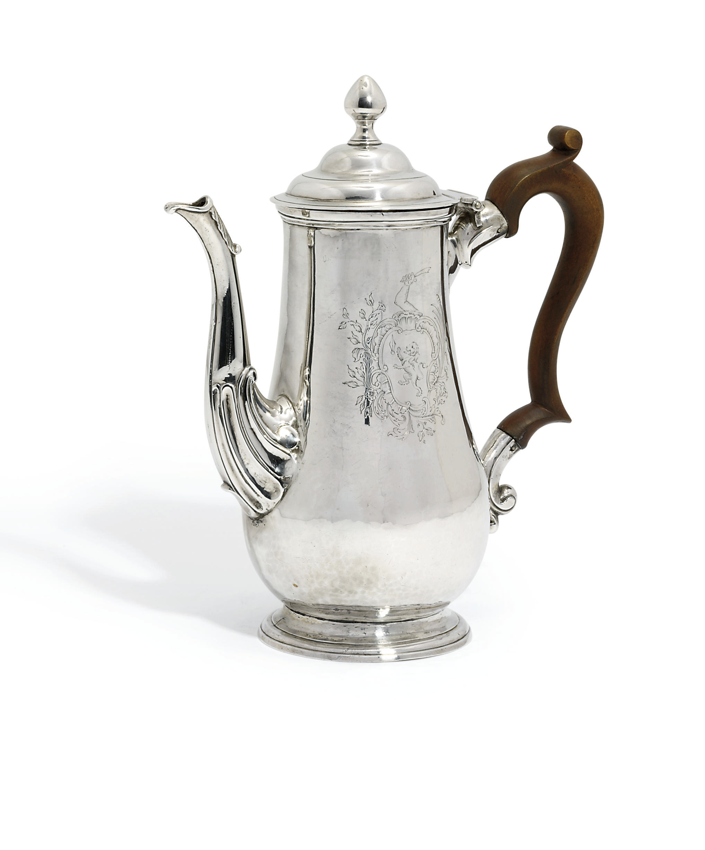 A RARE GEORGE II IRISH PROVINCIAL SILVER COFFEE-POT