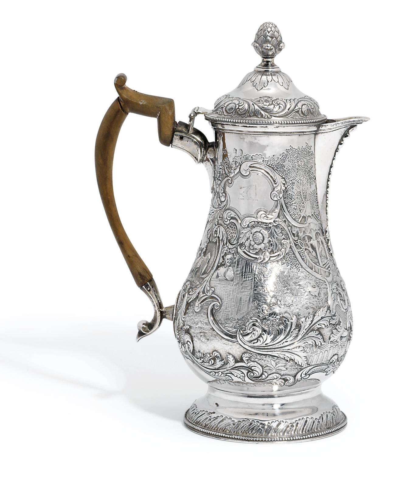 A GEORGE III IRISH SILVER COFFEE-JUG