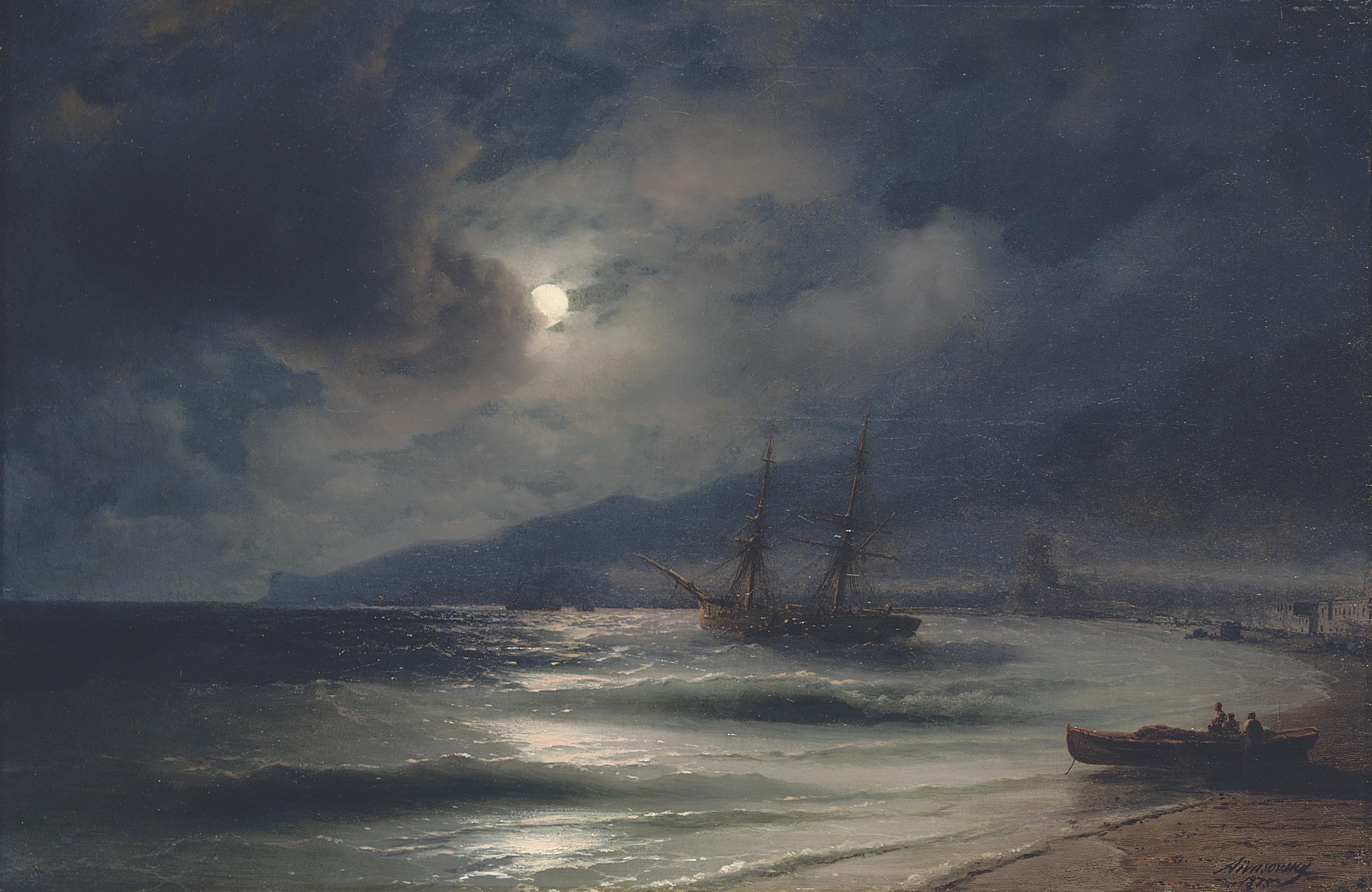 On the coast at night