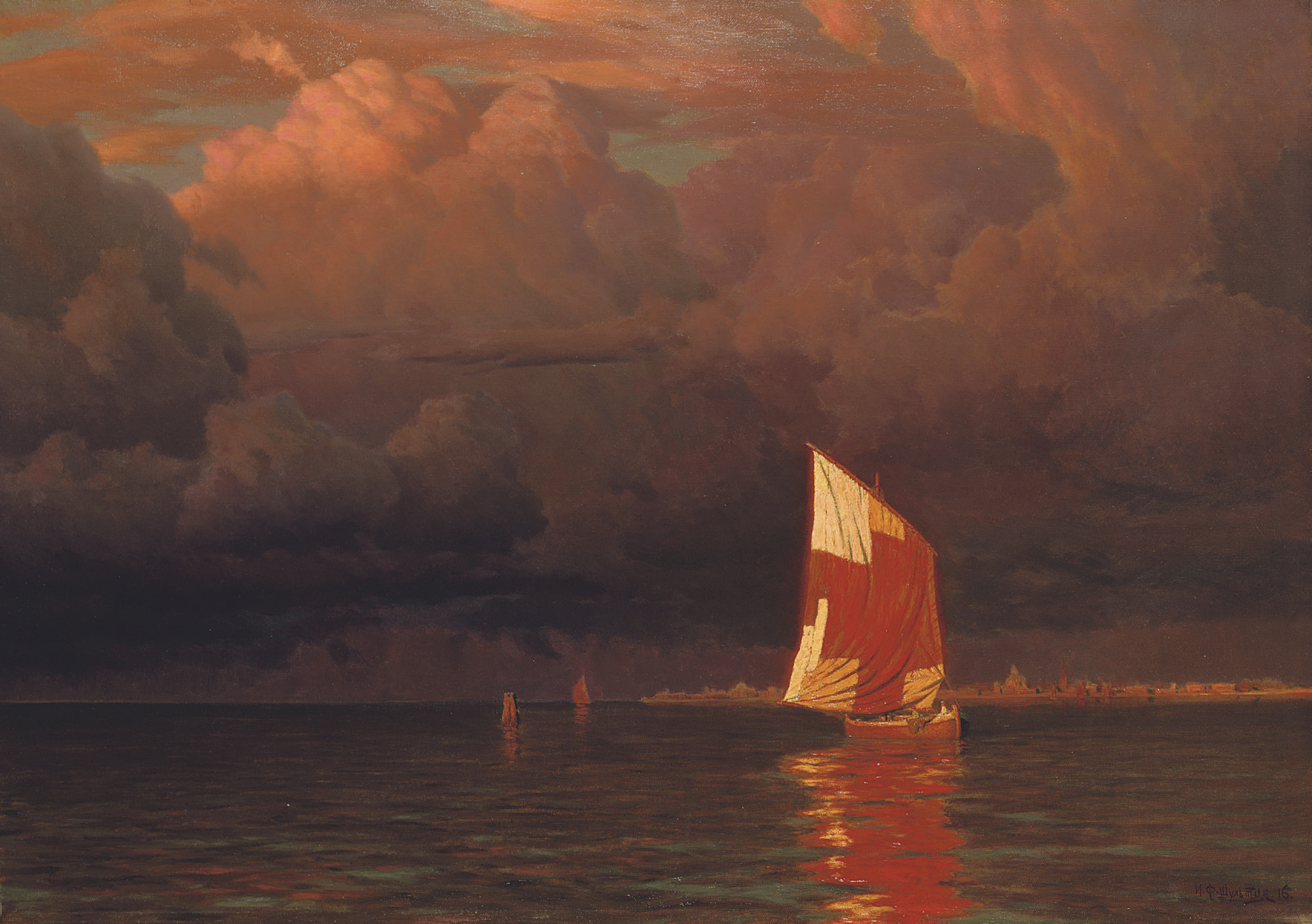 Sailing boat at sunset on the gulf of Finland