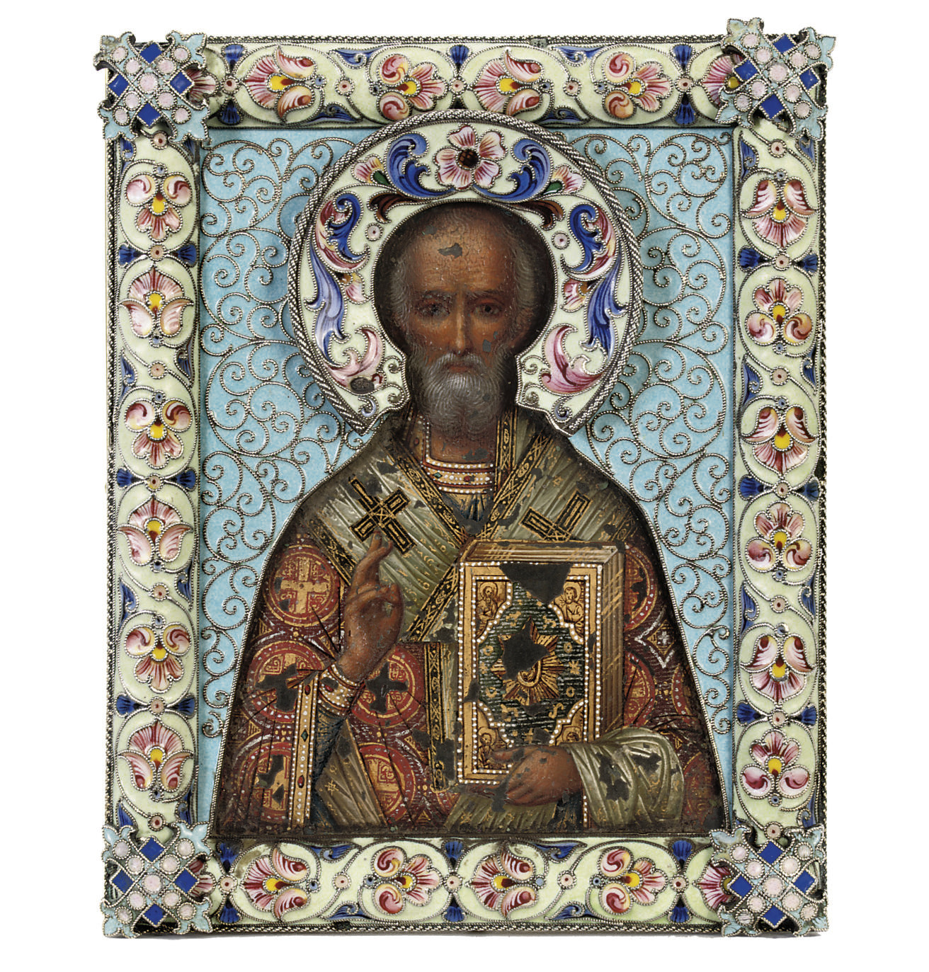 A silver-gilt and cloisonné enamel icon