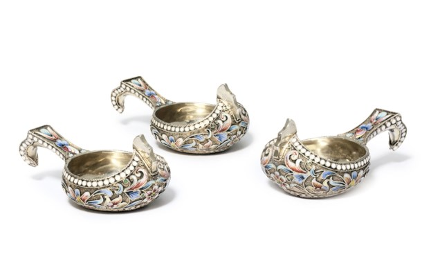 A set of three silver and cloi