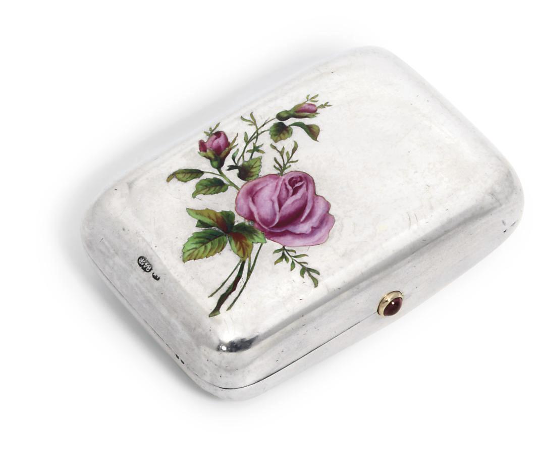 A silver enamelled purse