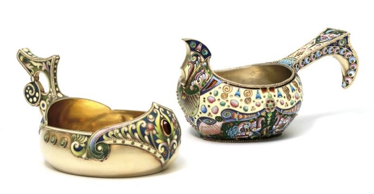 Two silver-gilt closionné enam