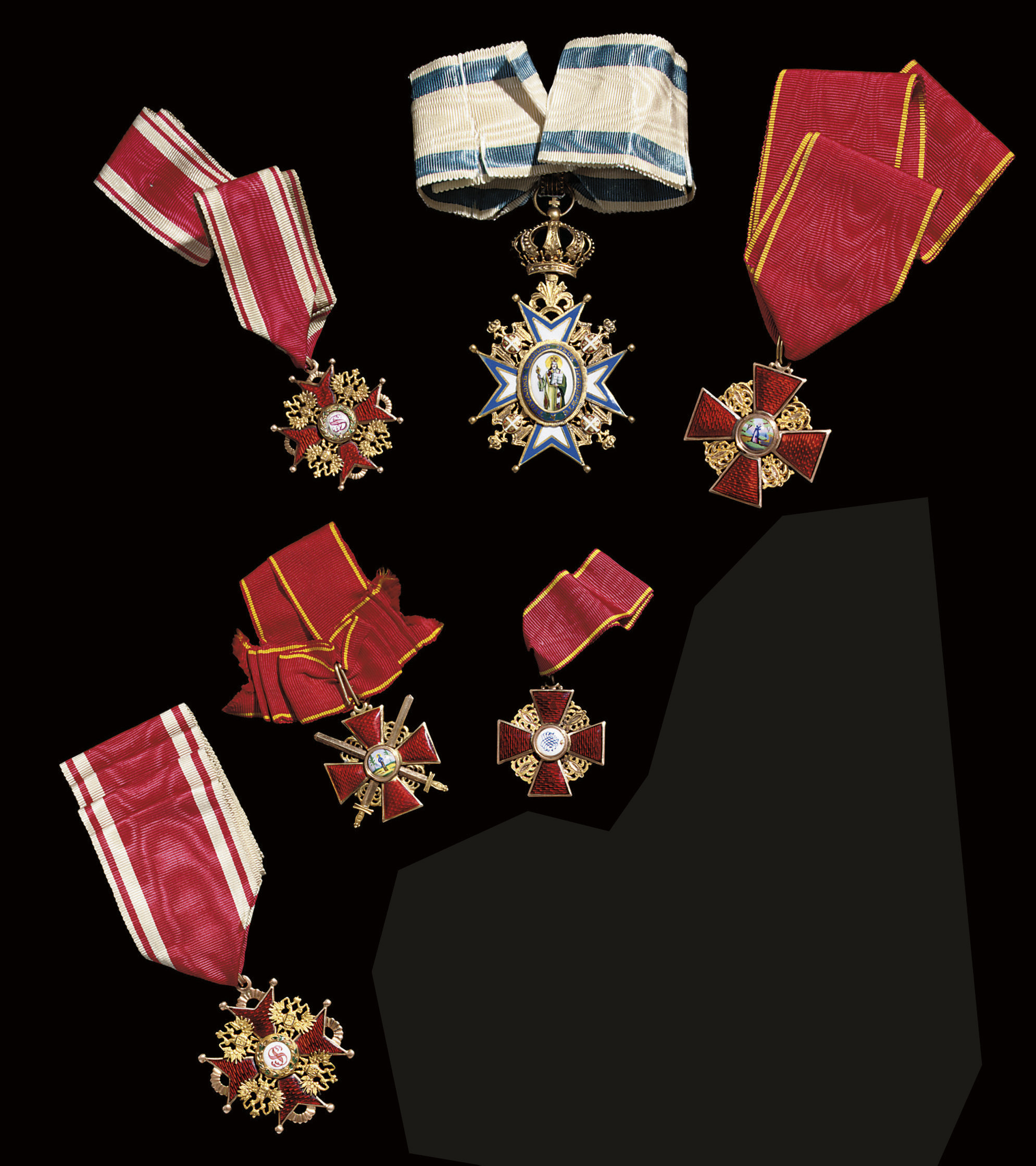 A group of six decorations